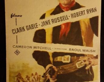 Original 1955 The Tall Men Spanish Herald Movie Poster Clark Gable, Jane Russell, Robart Ryan