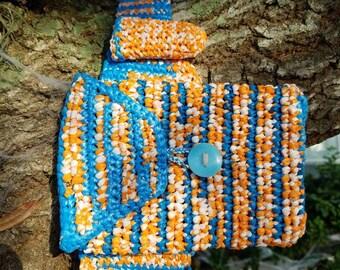 Crocheted plarn Orange and blue hip  bag/fanny pack