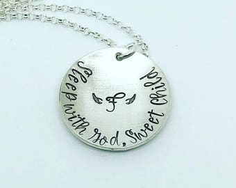 Mother's Loss Necklace - Sleep with God Sweet Child Necklace - Mom Memorial Jewelry - Hand Stamped Necklace - Hand Stamped Jewelry