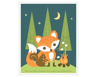 59A Fox Nursery Print - Camping Fox and Squirrel Wall Art - Fox Print - Baby Fox Nursery Wall Art - Woodland Nursery Decor - Camping Decor