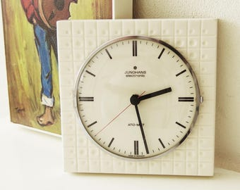 Vintage Space Age white Junghans wall clock, Op Art, Germany