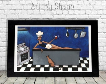Kitchen Home Decor Sexy Chef Gift Woman with Siamese Cat Cupcake Wall Hanging Feminine Colorful Art Print by Shano from Original Painting