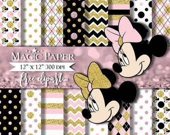 Minnie mouse Gold Pink Digital Papers, Paper, Clipart Clip Art
