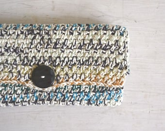 Fold Over Clutch Crochet Wallet Handbag 50% OFF Boho Hippie White Multicolored Stripe Pouch One of a Kind
