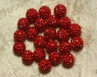 10pc - Pearl rhinestone 10mm red 4558550022905 glass and polymer