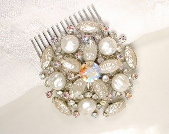 Vintage Champagne/Ivory Pearl Rhinestone Wedding Dress Sash Brooch / Bridal Hair Comb,Silver Southwestern Rustic Country Hairpiece Accessory