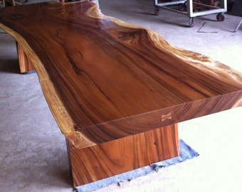 Live Edge Dining Or Conference Table Reclaimed Acacia Wood Solid Slab (Rare Size)