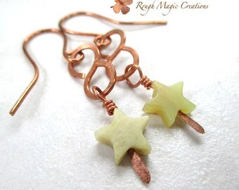 Green Star Earrings, Boho Gemstone & Rustic Copper Infinity Dangles, Long Earrings, Light Olive Jade Stone, Celestial Gift for Women E227
