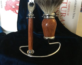Burmese Rosewood shaving kit