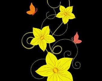 FANCY FLOWERS #8- 1 Machine Embroidery Design Instant Download 4x4 5x5 6x6 hoop (AzEB)