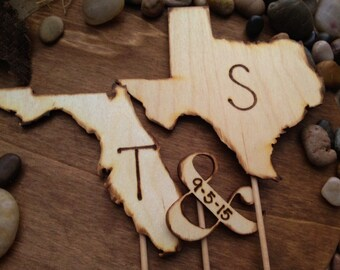 Long Distance Wedding State Cake Toppers Initials Shaped in YOUR State Wedding Date Ampersand Date Transplants Hometown USA