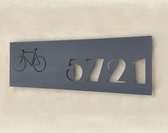 The Broadway- Custom Address Sign - Rectangular plaque with Design - House numbers Sign -  Horizontal or Vertical Address Signs  - Steel