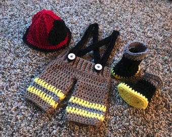 Crocheted baby fireman photo prop outfit