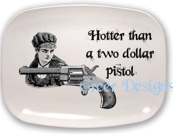Steampunk Fornasetti Inspired Pistol Gun Firearm Woman Hotter Dollar Western Old West Melamine Serving Platter Tray