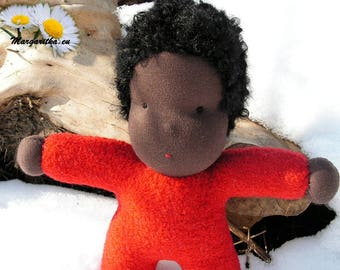 "Jordan, ready to ship, 10"" woolen African Waldorf doll, hug doll, cloth doll, black steiner doll, cuddle doll, baby boy doll, ethnic doll"