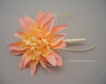 Dahlia Boutonniere, Peach and Cream Wedding, Mens Buttonhole Flower