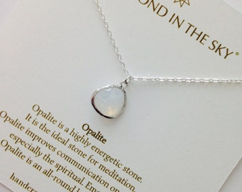 Opalite, Opal, Moonstone Gemstone Silver necklace On Gift Card with Meaning