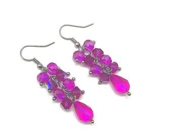 Fuchsia Earrings, Pink Crystal Cluster Earrings, Cluster Earrings, Dark Pink Earrings, Pink Cluster Earrings, Cluster Drop Earrings, Pink