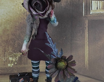 Marchita & Ando -  print art doll wilted flowers girls anthropomorphic dead flowers- lustre print ( 8 in x 12 in) lost spring