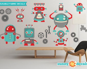 Robots Fabric Wall Decals, Wall Stickers, Robot Theme Nursery Decor, Wall Decals for Boys - Sunny Decals