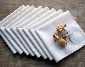 "100% Organic Unbleached Cotton Muslin & Thread Handkerchief Pocket (10X10"") Size - Natural Tissue Alternative, - Choose Your Quantity"