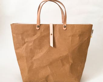 Tote Bag with Closure SMALL : Tyvek and Kraft paper tote bag/market bag/handbags/lunch bag/shopping bag/washable bag and eco friendly