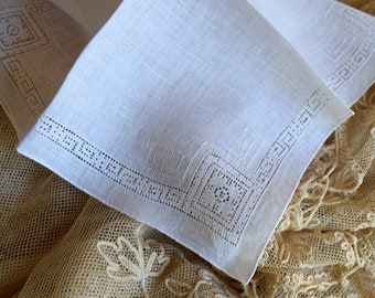 Lovely 1950's Vintage Handkerchief Open Work Design Women's Hankie Accessory Wedding Bridal Borrowed Sewing Bride Mother