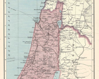 Palestine Vintage Map 1940s travel maps for home decor Vintage Prints