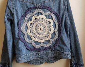 Bohemian, Jean jacket, upcycled jacket ,denim jacket, crochet jacket, doily jacket, eco fashion