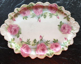 "Beautiful Antique Limoges Cabbage Roses Vanity Plate Dish // 11x8"", gilded edge > pink roses"