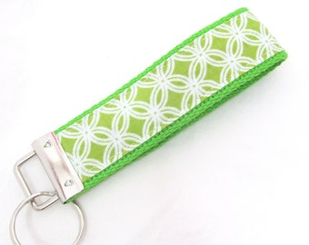 Wristlet Key Fob Key Chain - Cathedral Window in Spring Green - Keychain Keyfob with Lime Green Webbing