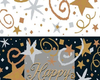 Happy New Years pattern holiday plastic tablecloth. UI15353