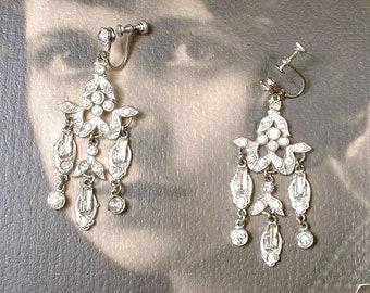 Antique Art Deco Earrings, 1920s French Paste Rhinestone Dangle Chandelier Statement, Gatsby Flapper Bridal Vintage Wedding Pave Screw Back
