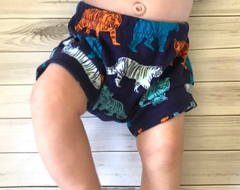 Tiger navy toddler, baby bloomers, bummies, shorts diaper cover preemie, newborn, 0-3, 3-6, 6-9, 9-12, 12-18m, 18-24, 2T 3T 4T 5T
