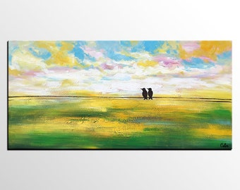 Abstract Art Painting, Abstract Art, Original Painting, Canvas Art, Large Wall Art, Canvas Painting, Love Birds Painting, Wedding Gift