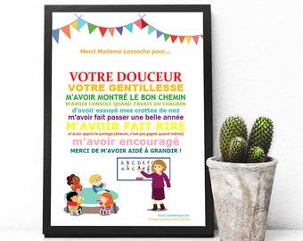 """PDF Affiche - """"Merci maitresse"""" - cadeau maitresse"""