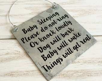 Baby Sleeping Do Not Knock or Ring Sign on Galvanized Metal Do Not Disturb Quiet Please Shhh Baby Sleeping Nap Time Sign