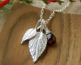Pineapple Sage Leaf Jewelry - Pure Silver Real Leaf Pendant, Garnet Gemstone, Sterling Silver Chain, Herb Jewelry, Gift for her