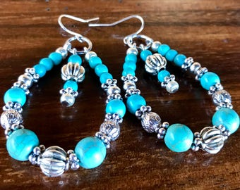 Handmade large hoop statement earrings in turquoise and tibetan silver beads