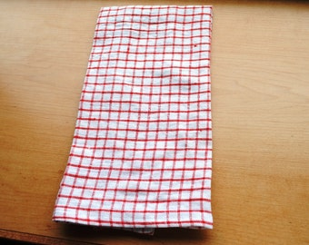 Linen Dish Towel Red Gingham Linen Kitchen Towel Guest Towel Tea Towel Hand Towel