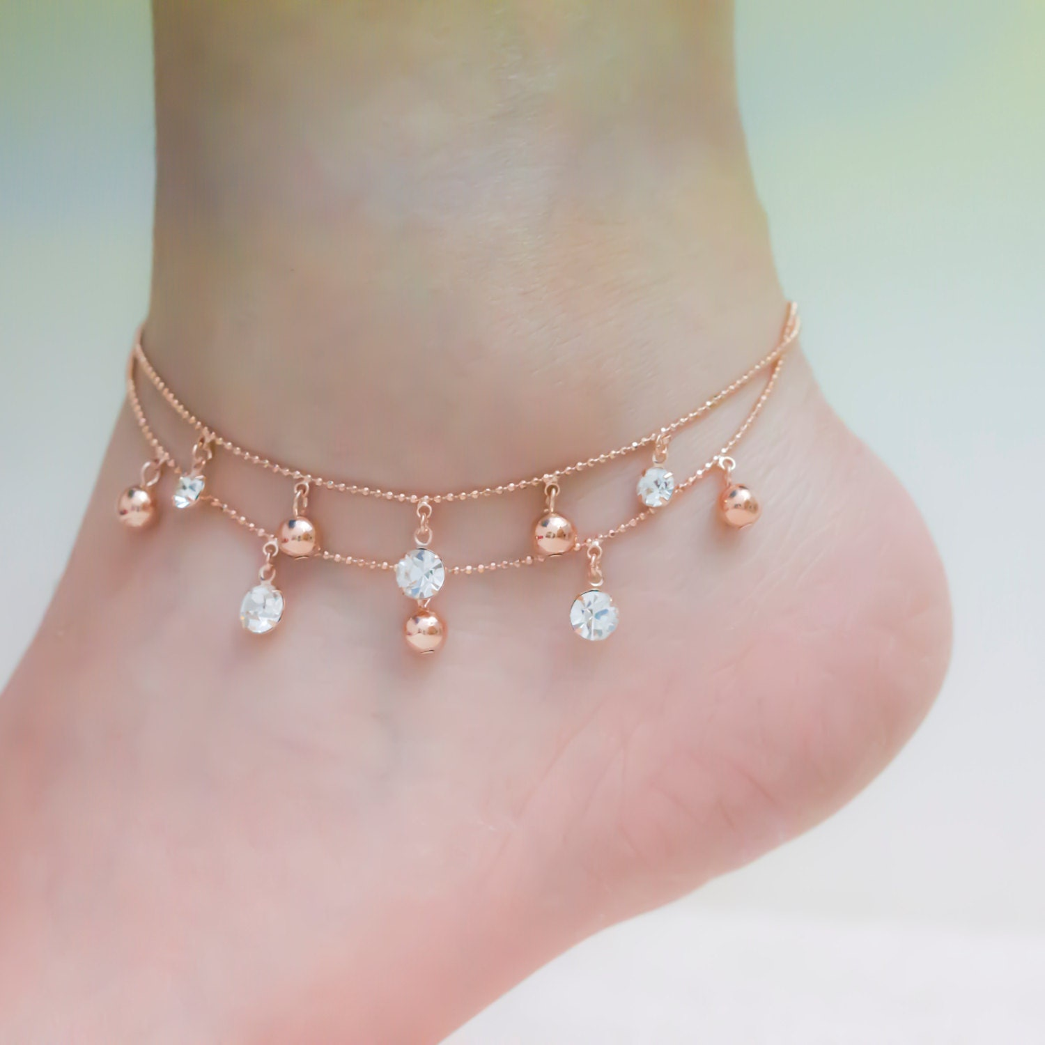 today double strand free gold jewelry solid shipping white overstock inch freeform bracelet anklet heart ankle product watches