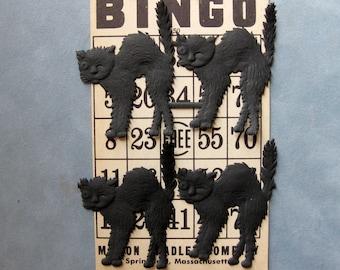 Large Black Winking Cats, German Dresdens, with Vintage Bingo card, Creepy Spooky, Scary Embellishments, Ephemera for Halloween