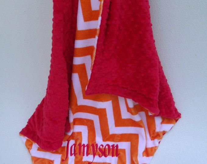 Red and Orange Chevron Minky Baby Blanket,