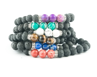 Lava stone diffuser bracelet – multiple colors - Stack 3 or 4 bracelets - Enjoy the aromatic and topical benefits of essential oils!