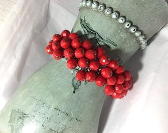Rockabilly Red Vintage Cha Cha Bracelet ~ Signed Japan