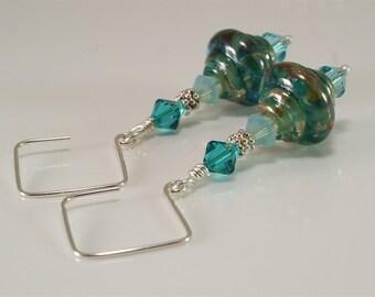 Handmade Lampwork Earrings Silver Gold Lampwork Beads - SRAJD