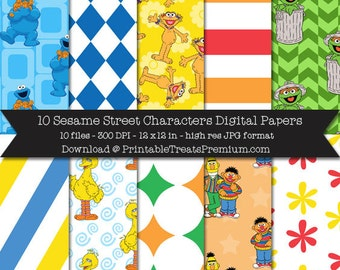 Sesame Street Characters Digital Paper Pack - Cookie Monster, Zoe, Oscar the Grouch, Big Bird, Bert Ernie, Bright, Blue, Yellow, Printable