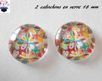 2 glass cabochons domed 18mm rose theme