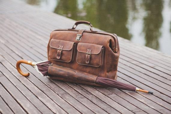 Leather Doctor bag, Metal framed Doctor Bag, Travel Bag, Weekender Bag, overnight Bag, Man Briefcase Top Handle, Mary Poppins Bag