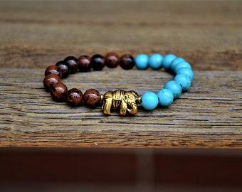Mindful Elephant Mahogany Obsidian and Blue Magnesite  Yoga Bracelet/Boho Bracelet/Meditation Bracelet/Intention Bracelet